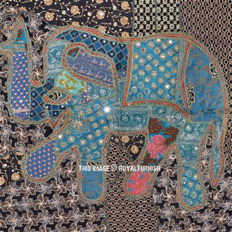 Patchwork Tapestry - 40 quot green vintage multi india sari elephant patchwork