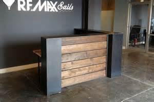 Home design custom reception desk reclaimed wood front door baby