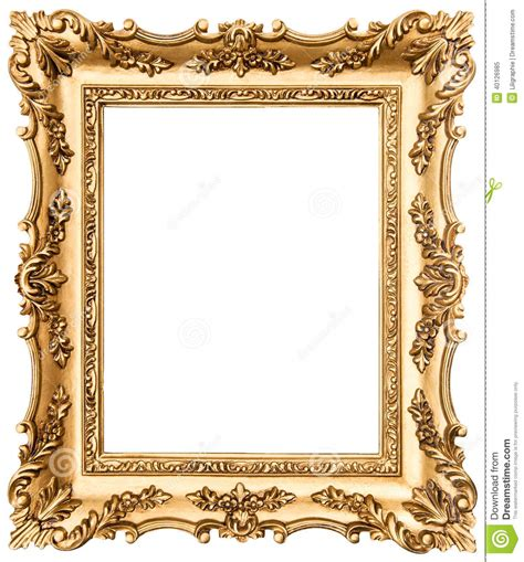 Square Marco Oval moldura para retrato dourada do vintage isolada no branco