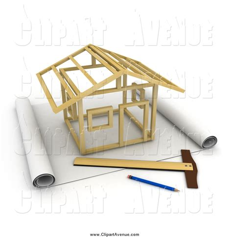 Blue Prints For Homes by Avenue Clipart Of A 3d Stick House Being Constructed On