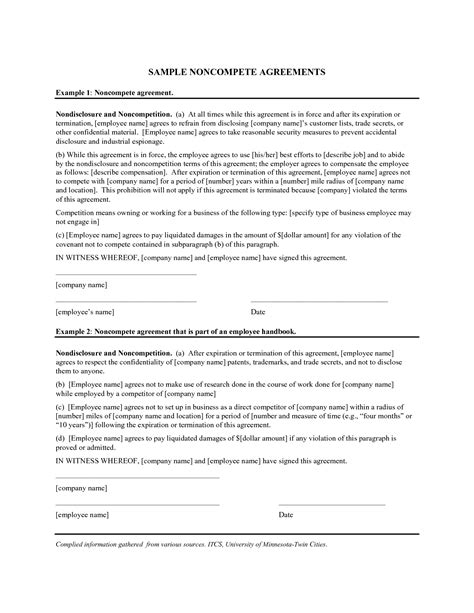 non compete template free 3390481 png non compete agreement exle real state