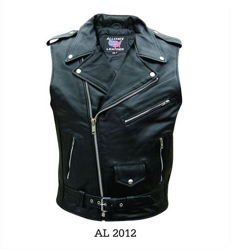 leather vest mens sleeveless jacket black buffalo leather motorcycle
