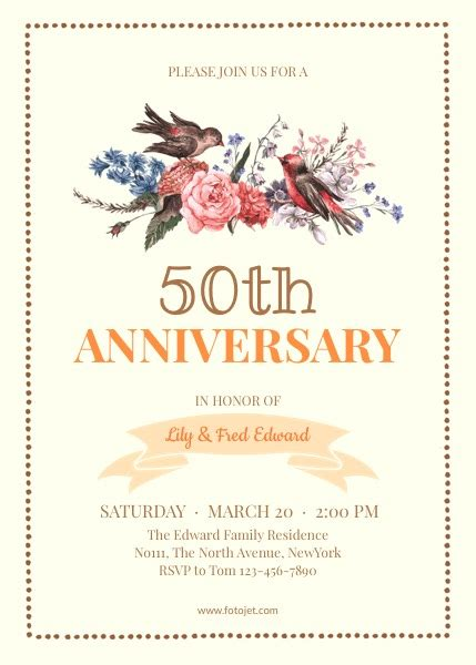 50th wedding anniversary card templates 25th anniversary invitation background gallery