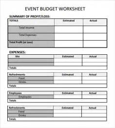 budget worksheet template sle event budget template 6 free documents