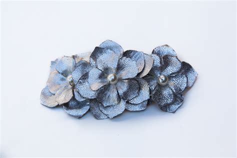 Flower Hair Barrette flower barrette clip leather hair accessories hair
