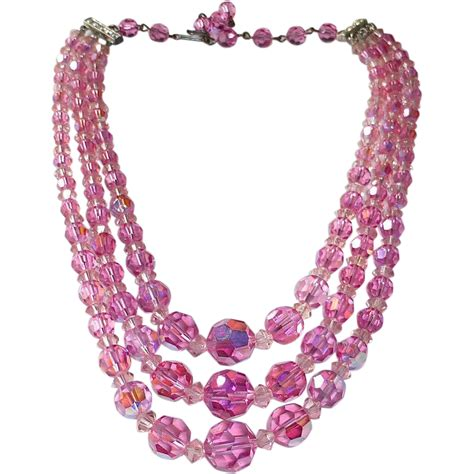 pink bead necklace pink ab strand glass bead necklace from