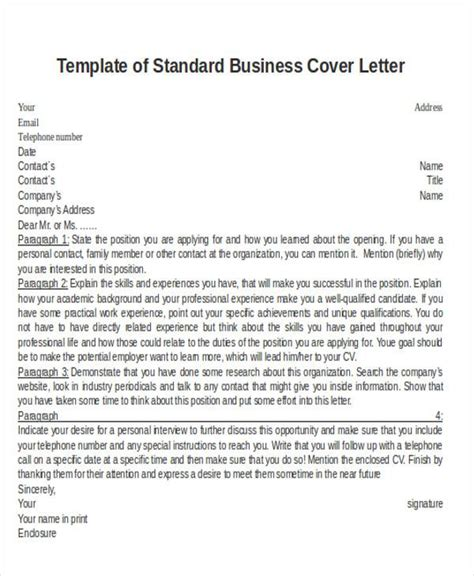 standard business letter template word registered cover letter exles healthcare cover