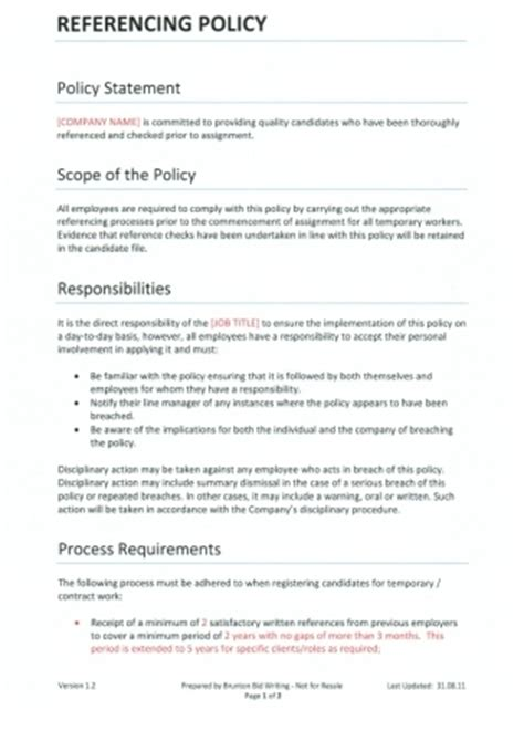 company policies template referencing policy for recruitment agencies