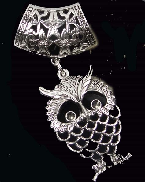 scarf pendant silver pewter filigree owl slide by ebeadshow
