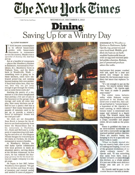 Ny Times Dining Section by Marlo M C Mm C News Page 43