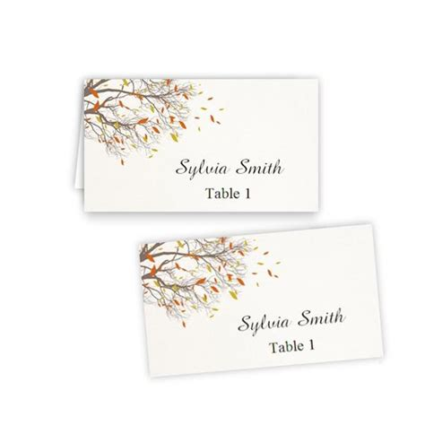 folded table place cards fall branches folded table tent flat place card templates
