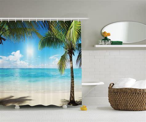 tropical themed shower curtains tropical palm tree beach themed shower curtain