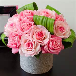 How To Save Roses In A Vase Real Touch Pink Roses Faux Arrangements Amp Centerpieces For