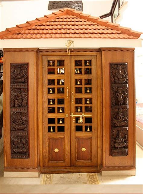 kerala style carpenter works and designs pooja room