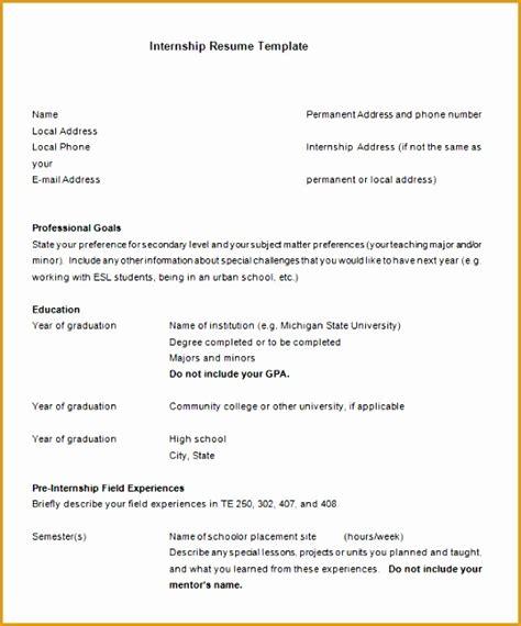 Curriculum Vitae Format Internship by 8 Sle Internship Curriculum Vitae Free Sles