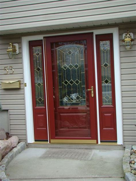 Burgundy Front Entry System Fiberglass Entry Door Williams Glass And Doors