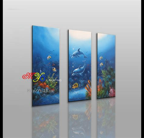 handmade home decoration handmade home decor undersea scene group 3 panel oil