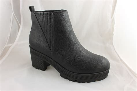 womens office flunk chunky chelsea boots black tumbled boots ex display ebay