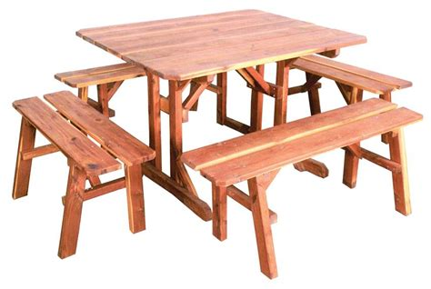 amish outdoor picnic table with four benches