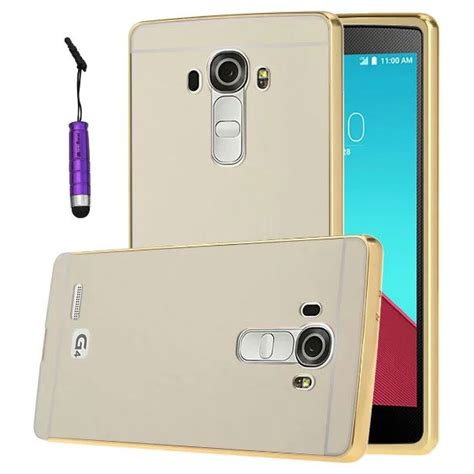 Aluminium Bumper With Mirror Back Cover For Lg G4 Hitam aluminium bumper with mirror back cover for lg g4 golden jakartanotebook