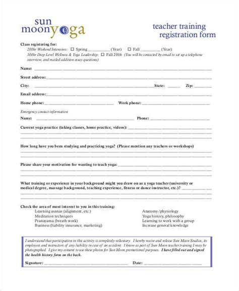 class registration template registration form templates