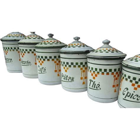 vintage french kitchen canisters set of 6 by petitsdetails set of 6 vintage french kitchen storage jars enamel