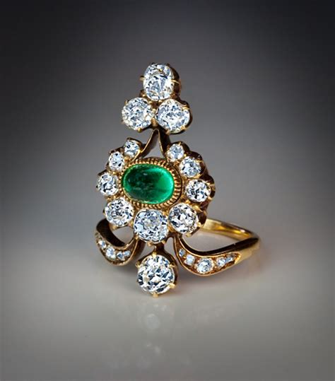 antique russian and emerald ring from