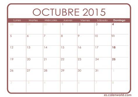 Calendario Octubre 2015 Para Imprimir Calendario Octubre 2015 Calendarios Para Imprimir