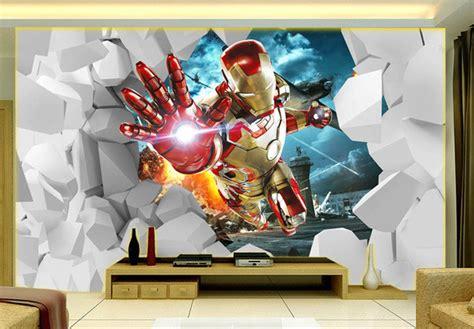 bedroom marvel kids bedroom extraordinary super hero wall aliexpress com buy 3d iron man wallpaper custom