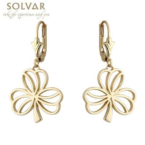 shamrock earrings 10k gold cz shamrock drop earrings at