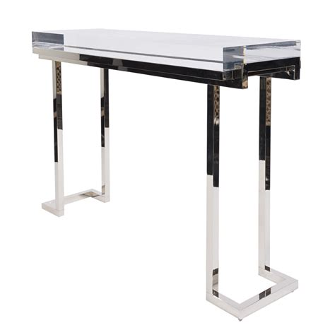 plexiglass sofa table mies console in polished nickel dering