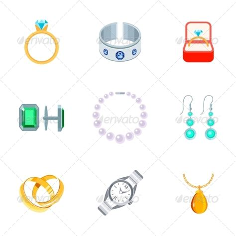 icon design jewelry jewelry icons flat by macrovector graphicriver