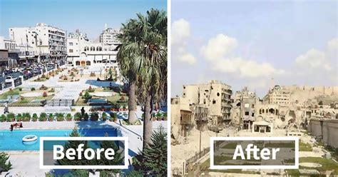 syria before and after 30 before after pics of aleppo reveal what war did to