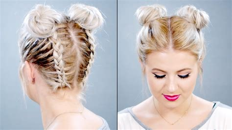 how to make hair buns from braids how to double braided space buns on short hair milabu