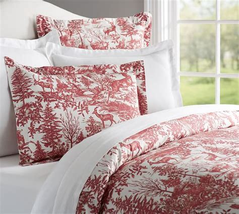 red toile bedding alpine toile duvet cover sham pottery barn