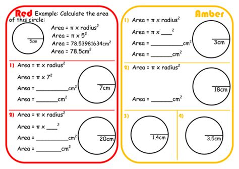 area of a circle worksheet wtongue s shop teaching resources tes