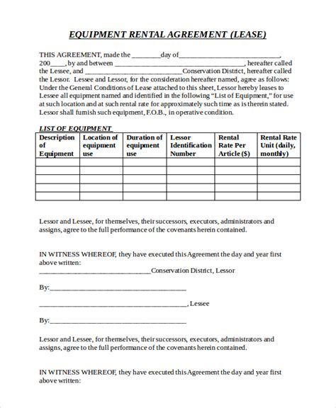 equipment lease agreement template free 21 equipment rental agreement templates free sle