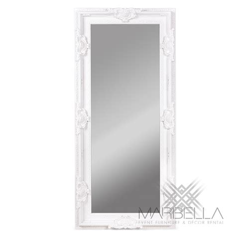 white regal floor mirror marbella event furniture and decor rental