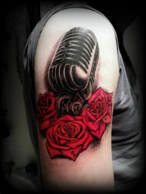 old school microphone tattoo designs 53 adorable vintage flower shoulder tattoos
