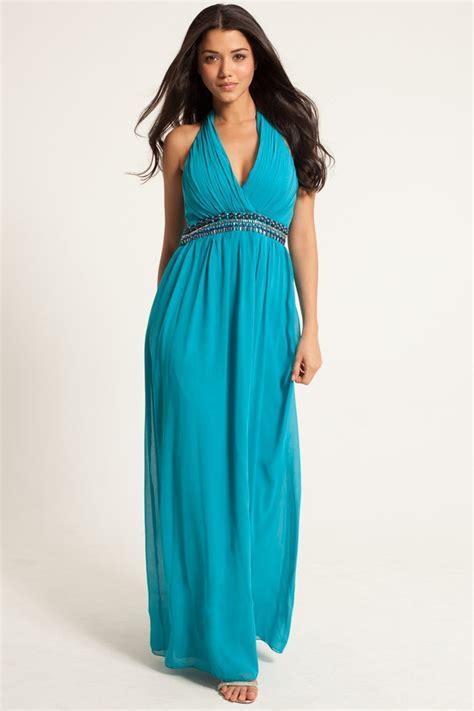 blue embellished tie halter maxi dress