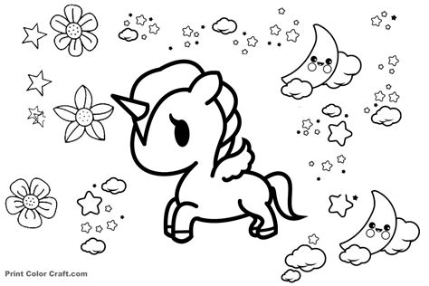 unicorn coloring kawaii unicorn coloring pages print color craft