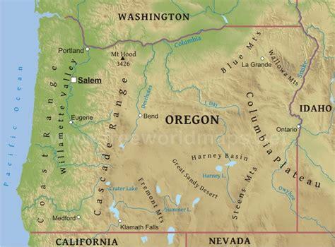 map of oregon landforms physical map of oregon