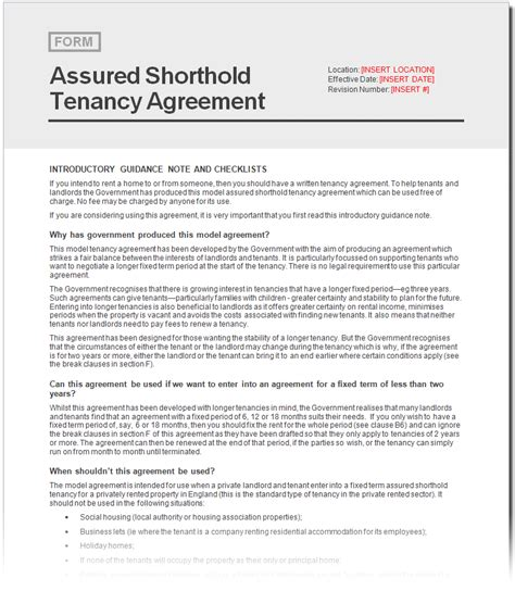 assured tenancy agreement template free assured shorthold tenancy agreement document netrent