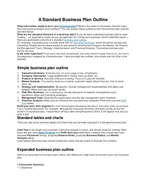 standard business plan template a standard business plan outline