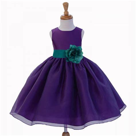 Dress Pricill Kid Purple purple organza flower dress tie sash pageant wedding