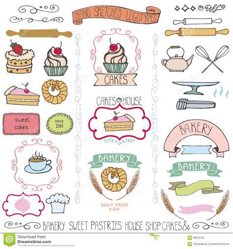 free doodle logo maker bakery cakes labels elements doodle logo template stock