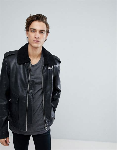 K057 Parka Collar Dusty Gn lyst blackdust leather jacket with faux fur collar in black for