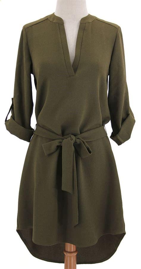 olive belted shirt dress knit dresses
