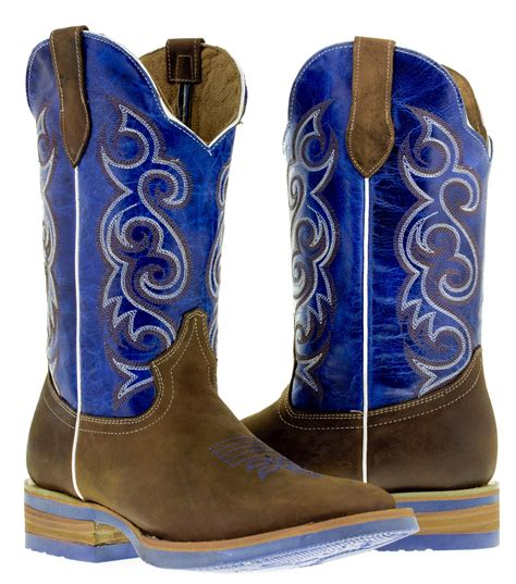 Sepatu Country Boots Casual Brown Originla Handmade s brown blue western leather cowboy boots rodeo broad square toe ebay