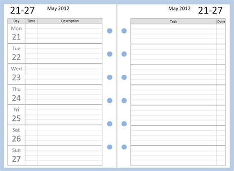 diary planner template philofaxy free pocket filofax diary layouts to